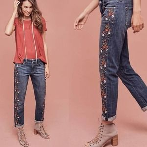 Anthropologie Red Floral Embroidered Straight Jean